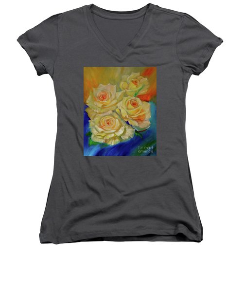 Peace Roses Women's V-Neck (Athletic Fit)