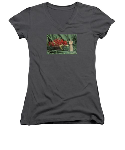 Peace Women's V-Neck T-Shirt (Junior Cut) by Sandy Molinaro