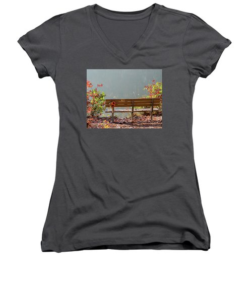 Women's V-Neck T-Shirt (Junior Cut) featuring the photograph Peaceful Bench by George Randy Bass