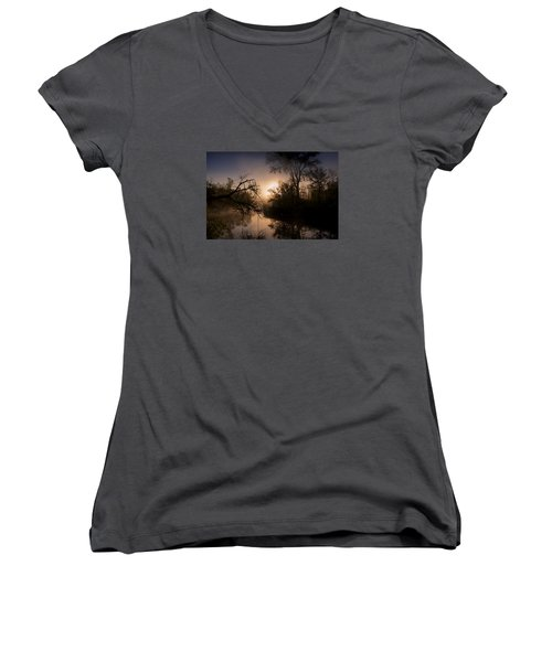 Women's V-Neck T-Shirt (Junior Cut) featuring the photograph Peaceful Calm by Annette Berglund