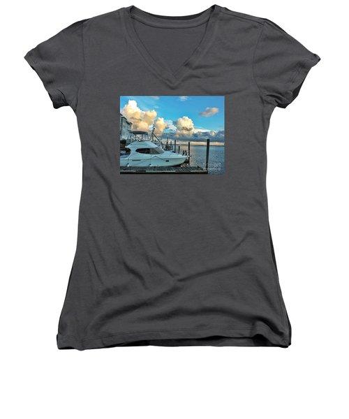 Peaceful Evening Walk  Women's V-Neck T-Shirt (Junior Cut) by Christy Ricafrente