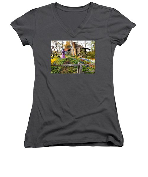 Peaceful Garden Walk Women's V-Neck (Athletic Fit)