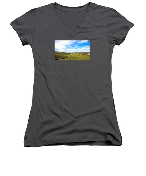 Peaceful Women's V-Neck T-Shirt (Junior Cut) by Hyuntae Kim