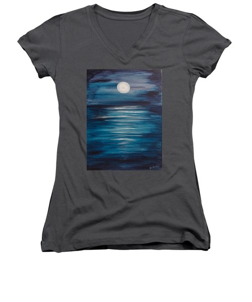 Peaceful Moon At Sea Women's V-Neck