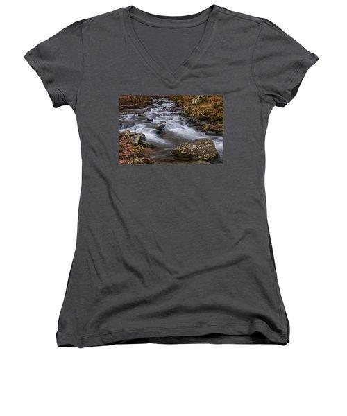 Peaceful Mountain Stream Women's V-Neck