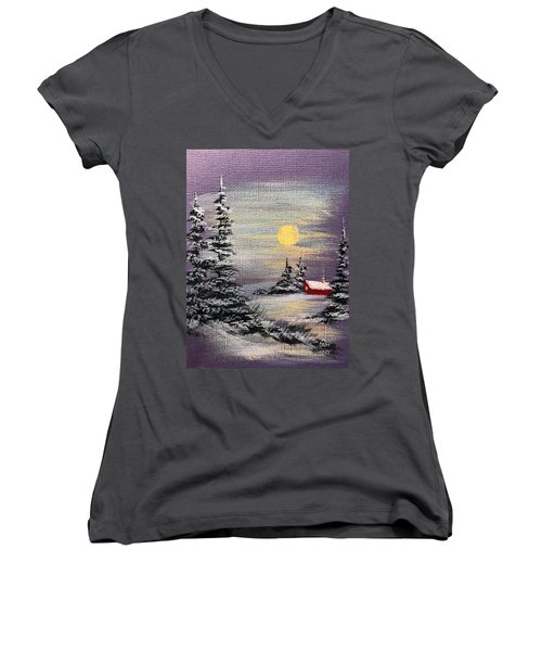 Peaceful Night Women's V-Neck (Athletic Fit)