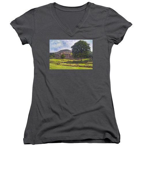 Peaceful Retreat - Melrose Abbey  Women's V-Neck (Athletic Fit)