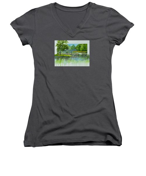 Peaceful River Women's V-Neck (Athletic Fit)