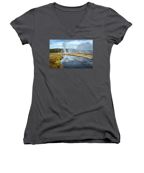 Women's V-Neck featuring the photograph Peaceful River by Scott Read