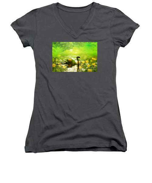 Peaceful Swan In Lake With Flowers Women's V-Neck T-Shirt (Junior Cut) by Annie Zeno