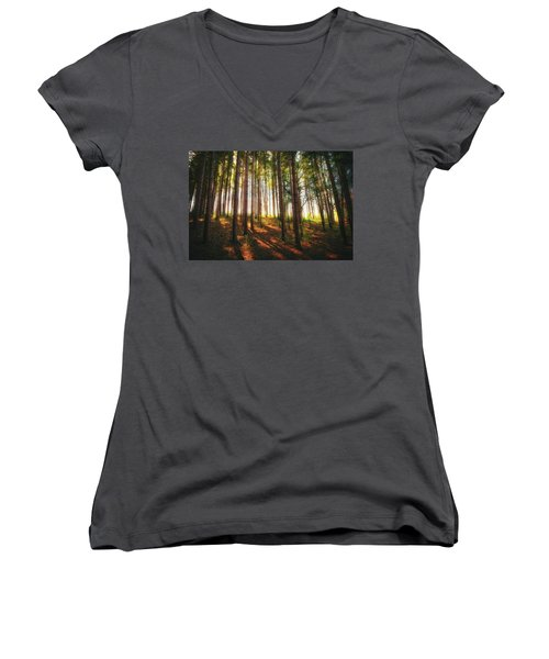 Peaceful Wisconsin Forest 2 - Spring At Retzer Nature Center Women's V-Neck T-Shirt (Junior Cut) by Jennifer Rondinelli Reilly - Fine Art Photography