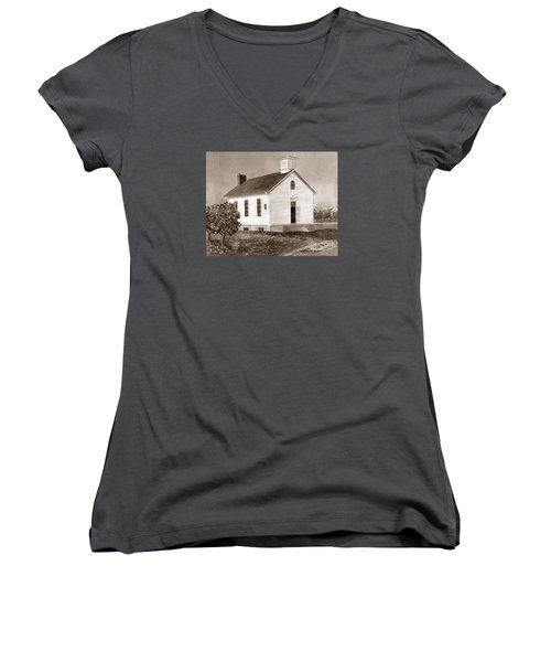 Women's V-Neck T-Shirt (Junior Cut) featuring the painting Peach Grove School Sepia by LeAnne Sowa