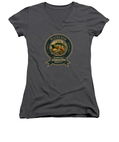 Peacock Bass Logo Women's V-Neck