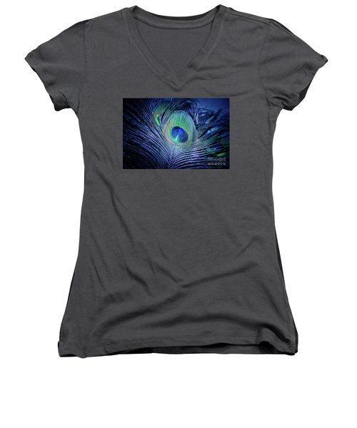 Women's V-Neck T-Shirt featuring the photograph Peacock Feather Blush by Sharon Mau