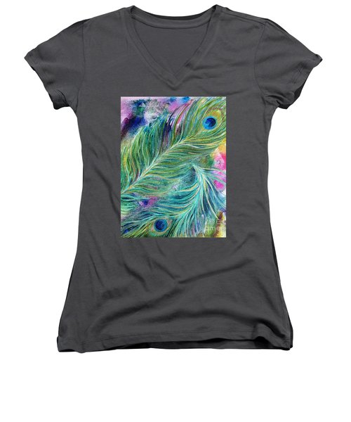 Peacock Feathers Bright Women's V-Neck T-Shirt