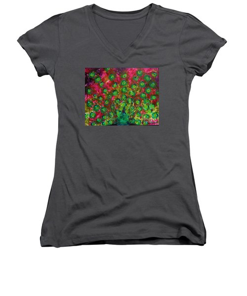 Peacock Impressions Women's V-Neck T-Shirt (Junior Cut) by Jeanette French