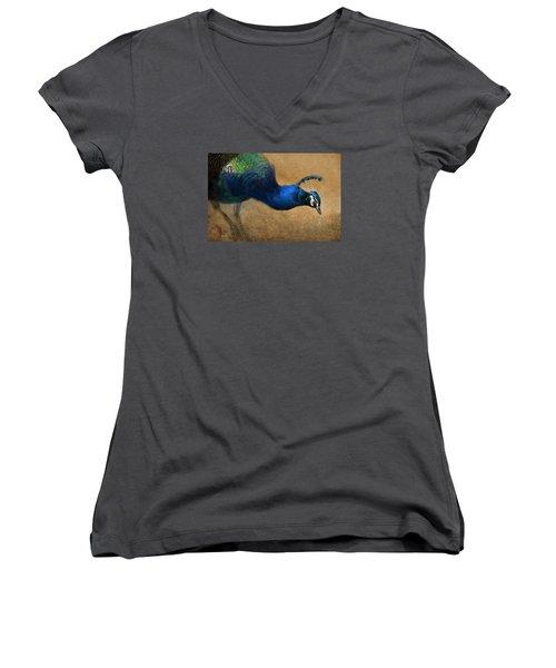 Peacock Light Women's V-Neck T-Shirt (Junior Cut) by Aaron Blaise