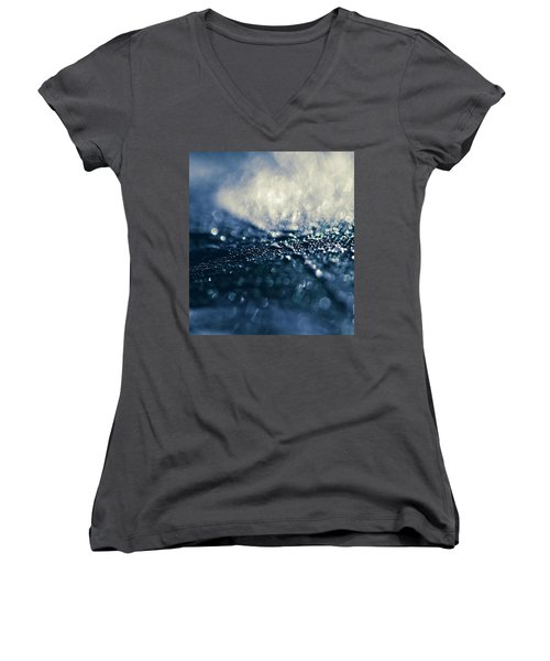 Women's V-Neck T-Shirt (Junior Cut) featuring the photograph Peacock Macro Feather And Waterdrops by Sharon Mau