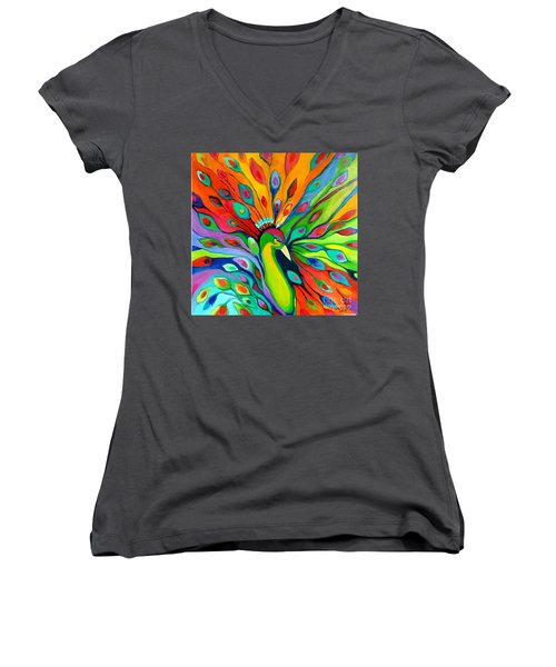 Women's V-Neck T-Shirt (Junior Cut) featuring the painting Peacock On The 4th Of July by Alison Caltrider