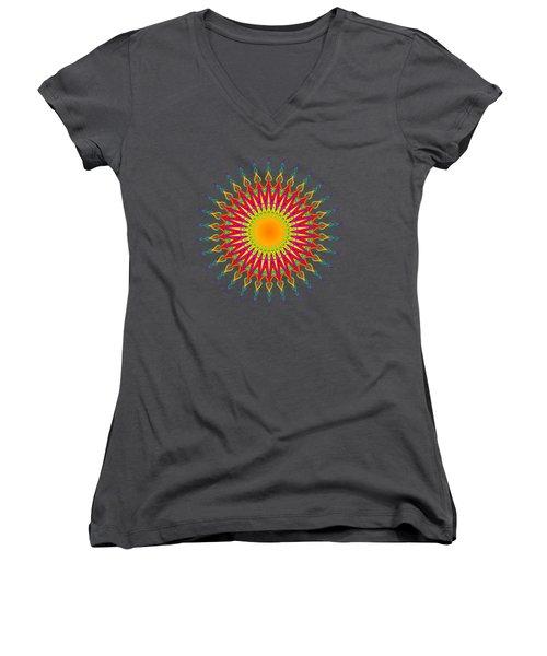Peacock Sun Mandala Fractal Women's V-Neck (Athletic Fit)
