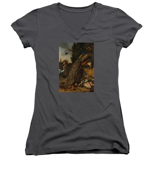 Women's V-Neck T-Shirt (Junior Cut) featuring the painting Peacocks by Melchior d'Hondecoeter
