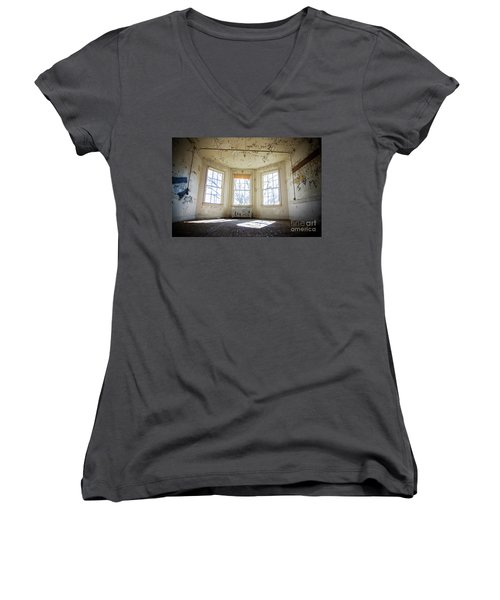 Women's V-Neck T-Shirt (Junior Cut) featuring the photograph Pealing Walls by Randall Cogle