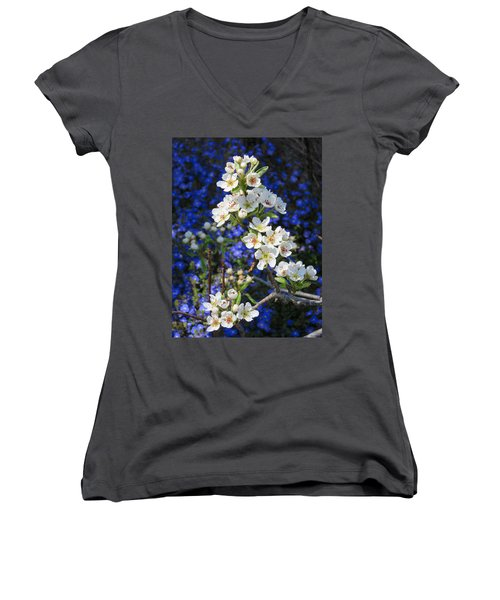 Pear Blossoms And Georgia Blue 2 Women's V-Neck T-Shirt
