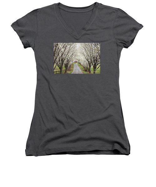 Women's V-Neck T-Shirt (Junior Cut) featuring the photograph Pear Tree Lane by Benanne Stiens