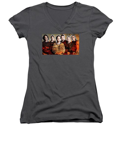 Women's V-Neck T-Shirt (Junior Cut) featuring the mixed media Pearl Jam by Marvin Blaine