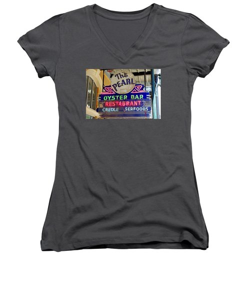 Pearl Oyster Bar Women's V-Neck (Athletic Fit)