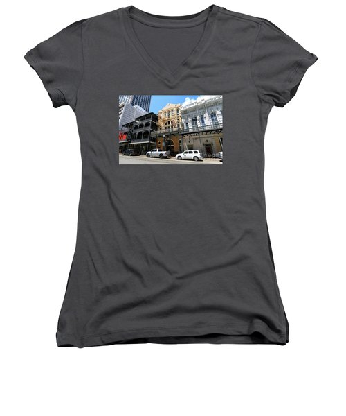 Women's V-Neck T-Shirt (Junior Cut) featuring the photograph Pearl Oyster Bar by Steven Spak