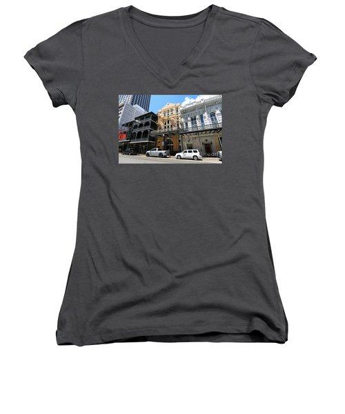 Women's V-Neck T-Shirt (Junior Cut) featuring the photograph Pearl Oyster Bar by Steven Spak