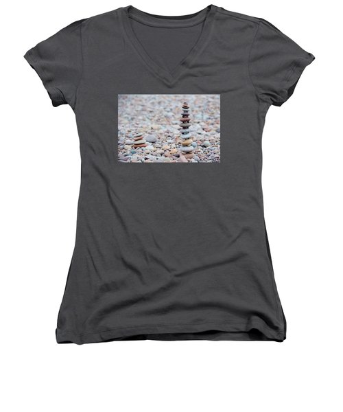 Pebble Stack II Women's V-Neck T-Shirt (Junior Cut) by Helen Northcott