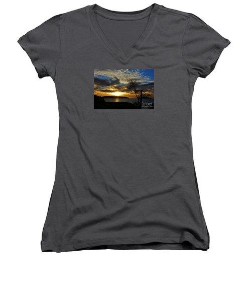 Pebbles  Beach Sechelt  Women's V-Neck T-Shirt (Junior Cut) by Elaine Hunter