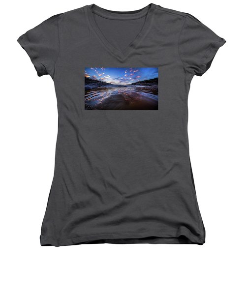 Peddernales Falls Sunset #1 Women's V-Neck T-Shirt (Junior Cut)