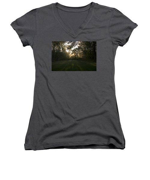 Peeking Through Women's V-Neck T-Shirt (Junior Cut) by Annette Berglund
