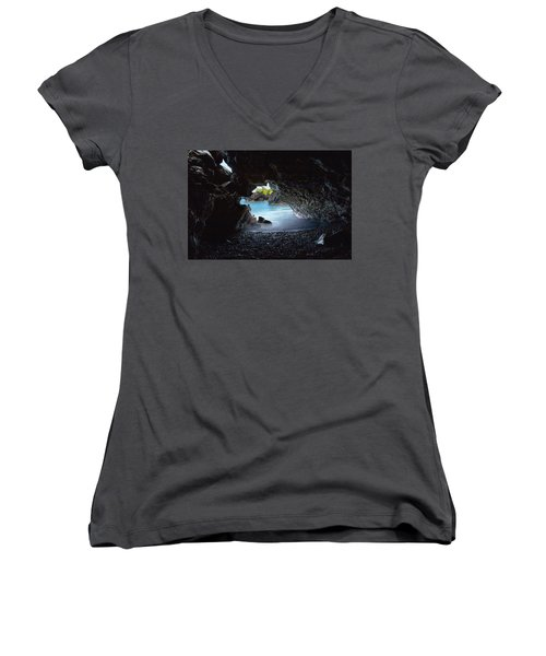 Peeking Through The Lava Tube Women's V-Neck