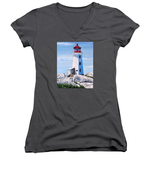 Women's V-Neck T-Shirt (Junior Cut) featuring the painting Peggy's Cove Lighthouse by Marilyn  McNish