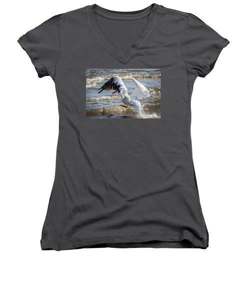 Pelican Jump Women's V-Neck T-Shirt (Junior Cut) by Ray Congrove