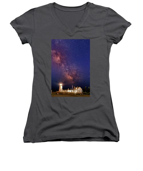 Pemaquid Point Lighthouse And The Milky Way Women's V-Neck