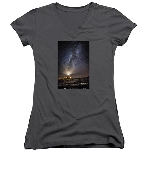 Women's V-Neck T-Shirt (Junior Cut) featuring the photograph Pemaquid Point Milky Way by Robert Clifford