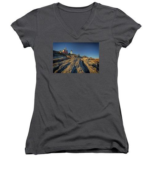 Pemaquid Point Women's V-Neck T-Shirt (Junior Cut) by Rick Berk