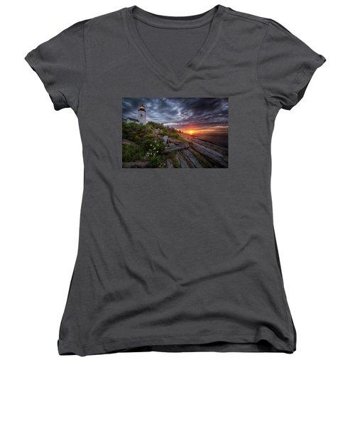 Pemaquid Sunrise Women's V-Neck T-Shirt (Junior Cut) by Neil Shapiro