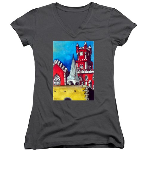 Women's V-Neck T-Shirt featuring the painting Pena Palace In Portugal by Dora Hathazi Mendes