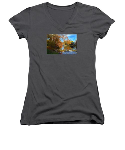 Pendleton Falls Park In The Fall Women's V-Neck T-Shirt