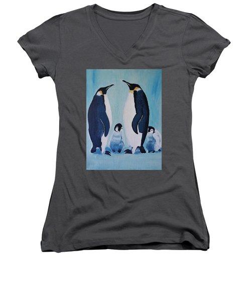 Penguin Family  Women's V-Neck
