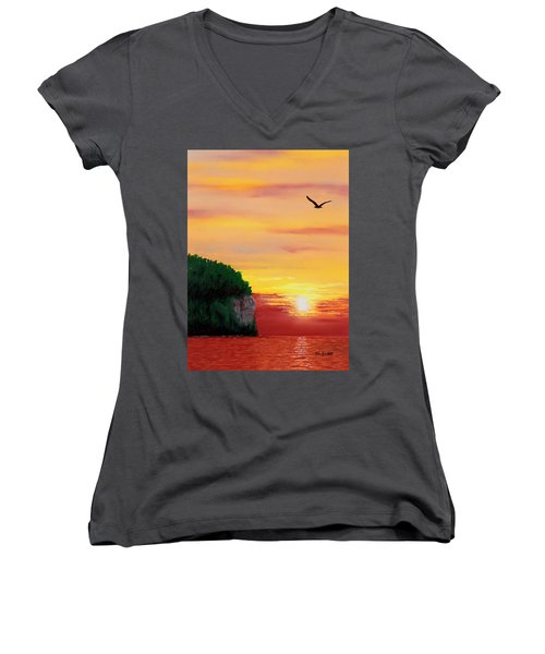 Peninsula Park Sunset Women's V-Neck (Athletic Fit)