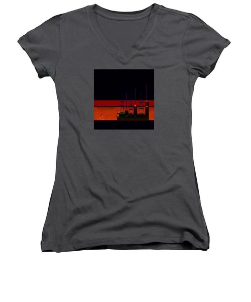 Women's V-Neck T-Shirt (Junior Cut) featuring the painting Penman Original-271-getting Past The Obstacles by Andrew Penman