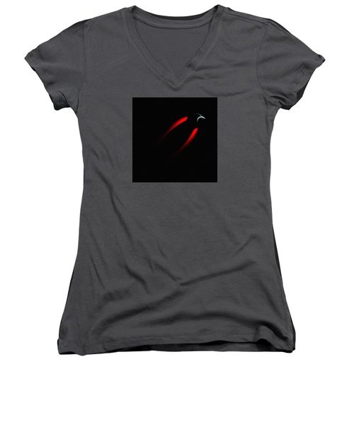 Women's V-Neck T-Shirt (Junior Cut) featuring the painting Penman Original 281 - Fleeing From The Grip Of Terror by Andrew Penman