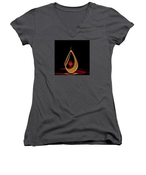 Women's V-Neck T-Shirt (Junior Cut) featuring the painting Penman Original-318 by Andrew Penman